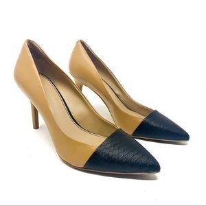 Audrey Brooke Ann Black & Tan Pointed Toe Heels